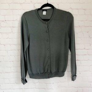 [J. Crew] gray wool cardigan jeweled buttons XL